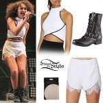 Leigh-Anne Pinnock: Crop Top, Lace Trim Shorts