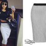 Natalia Kills: Gingham Pencil Skirt