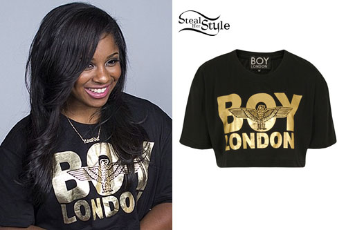 Reginae Carter: Gold 'BOY London' Crop Tee