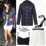 Rihanna: Denim Jacket, White Boxers