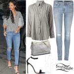 Rihanna: Striped Shirt, Ripped Jeans