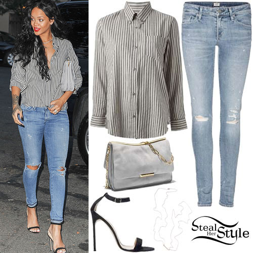 Rihanna: Striped Shirt, Ripped Jeans