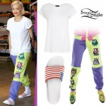 Rita Ora: Colorblock Sweatpants, Flag Sandals