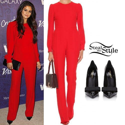Selena Gomez: Red Jumpsuit, Bow Pumps