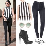 Selena Gomez: Stripe Top, Black Jeans