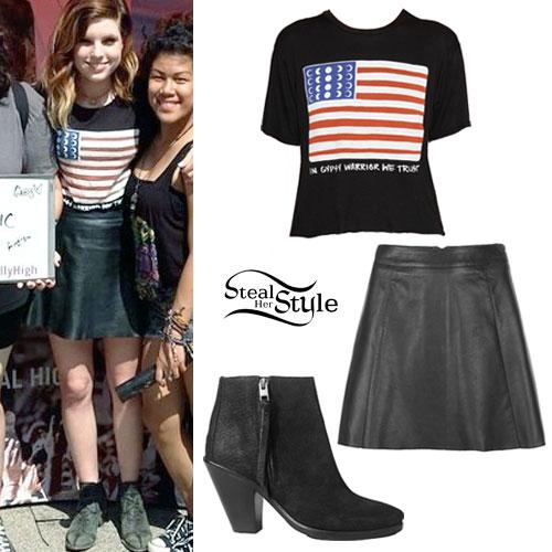 Sydney Sierota: Flag T-Shirt, Leather Skirt