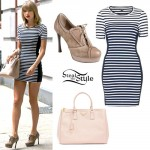 Taylor Swift: Striped Bodycon Dress, Nude Bag
