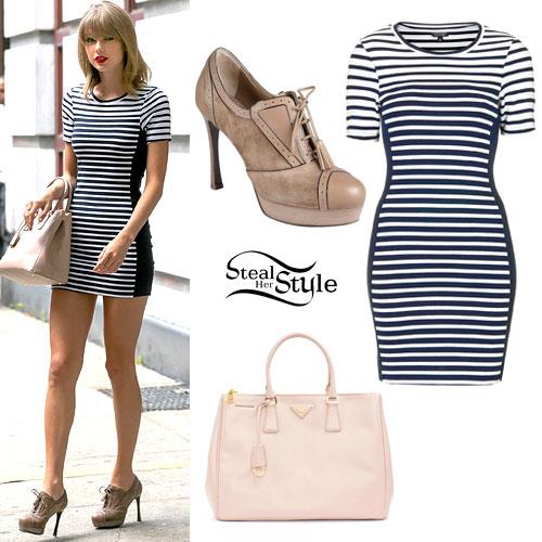 Taylor Swift: Striped Bodycon Dress, Nude Bag