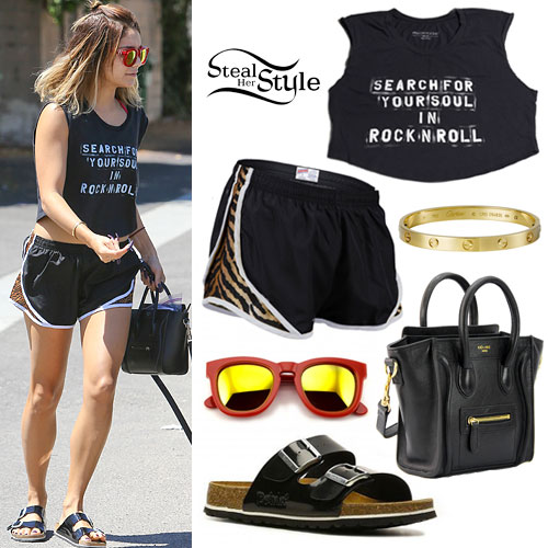 Vanessa Hudgens: Tiger Shorts, Birkenstock Sandals