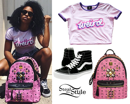 Bahja Rodriguez: Weird Tee, Pink Backpack