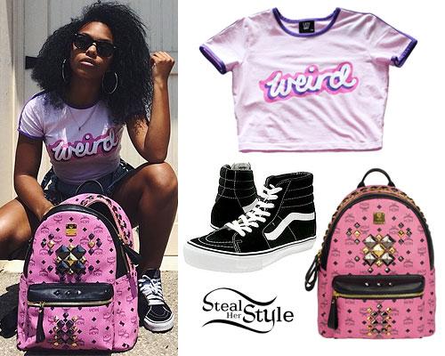 Bahja Rodriguez: Weird Tee, Pink Backpack