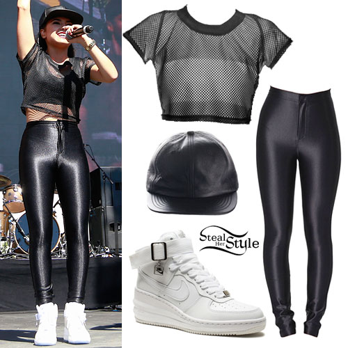 Becky G: Black Mesh Crop Top, Leather Hat