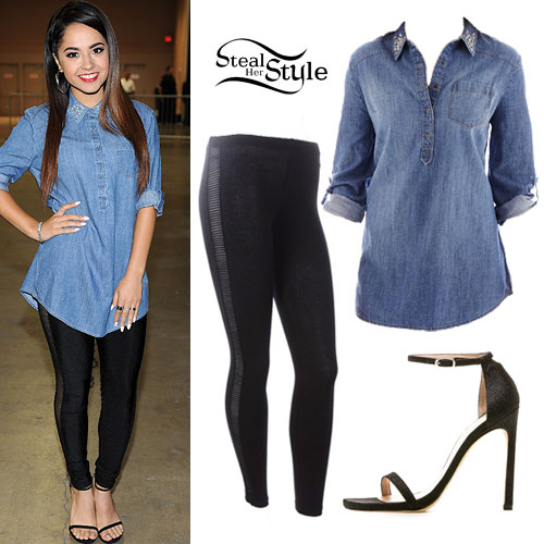 Becky G: Denim Tunic, Ankle Strap Sandals