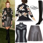Bella Thorne: Lace Blouse, Leather Skirt