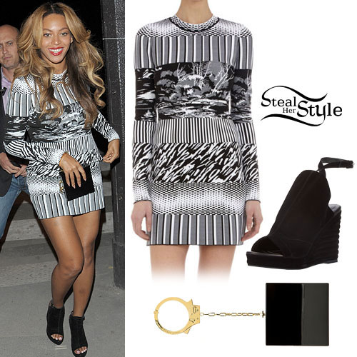 Beyonce: Printed Dress, Wedge Sandals