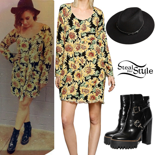 52f191b0bf50 Demi Lovato: Sunflower Dress Outfit | Steal Her Style