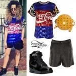 Ella Eyre: Sequin Coca-Cola Tee Outfit