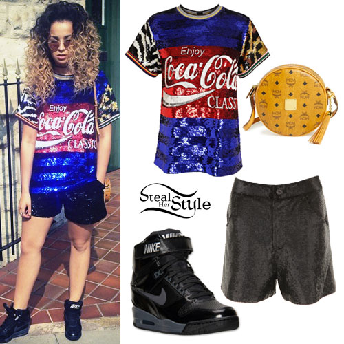 ella eyre sequin coca cola tee outfit steal her style