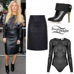 Ellie Goulding: Quilted Skirt, Mesh Bodysuit