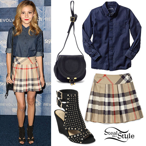 G Hannelius: Denim Shirt, Plaid School Skirt