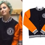 Hayley Williams: Orange & Black Varsity Jacket