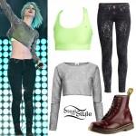 Hayley Williams: Glitter Crop Top, Neon Bra