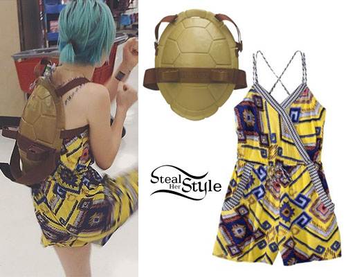 Hayley Williams: Yellow Printed Romper