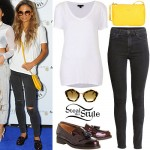 Jess Plummer: V-Neck Tee, Black Jeans