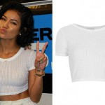 Jhené Aiko: White Ribbed Crop Top