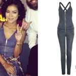 Jhené Aiko: Zippered Denim Jumpsuit