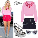 Kesha: Pink Beaded Sweater, Glitter Sandals