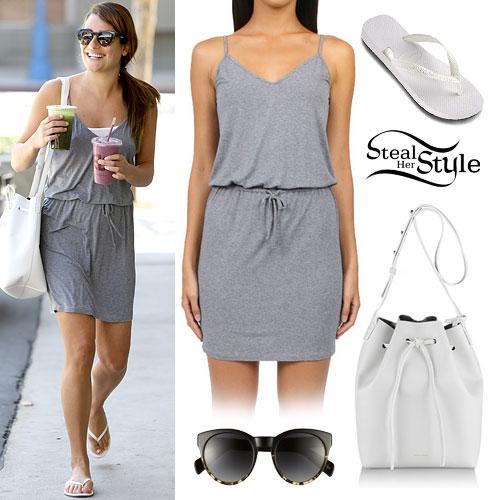 Lea Michele: Grey Dress, White Sandals