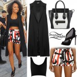 Leigh-Anne Pinnock: Sleeveless Coat, Printed Shorts