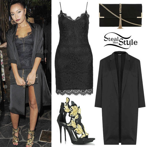 Leigh Anne Pinnock Lace Dress Satin Coat Steal Her Style