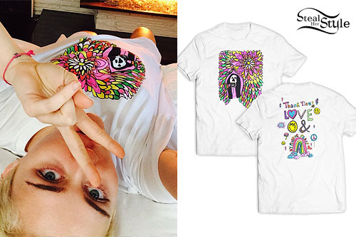Miley Cyrus: Flower and Skull T-Shirt