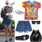 Miley Cyrus: Printed T-Shirt, Denim Shorts