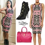Nicki Minaj: Zebra Knit Dress, Buckle Boots