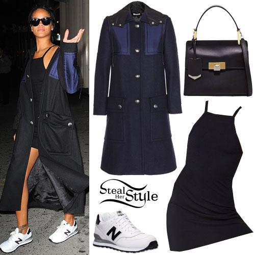 Rihanna: Black Dress, Panelled Coat
