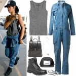 Rihanna: Grey Tank, Denim Jumpsuit