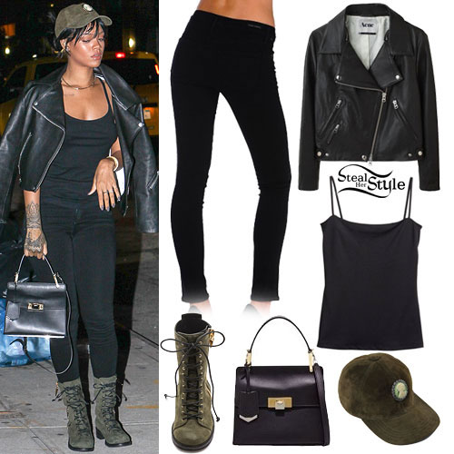 Rihanna: Leather Jacket, Black Jeans | Steal Her Style