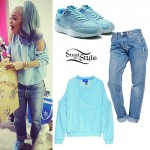 Rita Ora: Cold Shoulder Sweatshirt, Blue Sneakers