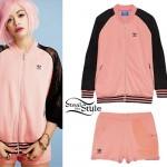 Rita Ora: Pink Adidas Jacket & Shorts