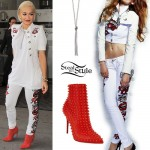 Rita Ora: Sequin Lips Jeans, Red Spike Boots