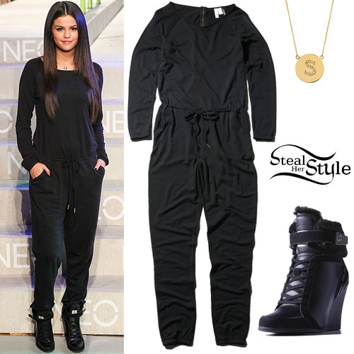 Selena Gomez: Black Jumpsuit, Wedge Sneakers
