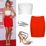 Taylor Swift: White Bandeau, Red Bodycon Skirt