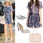 Taylor Swift: Floral Skirt & Top, Nude Tote