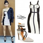 Victoria Justice: Corset Dress, Cross-Strap Pumps
