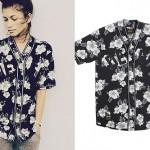 Zendaya: Black Floral Baseball Jersey
