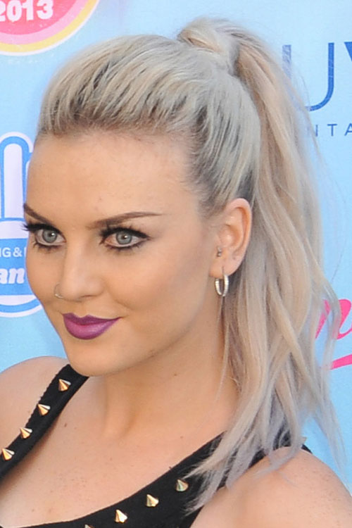 Perrie Edwards Straight Silver Ponytail Hairstyle Steal
