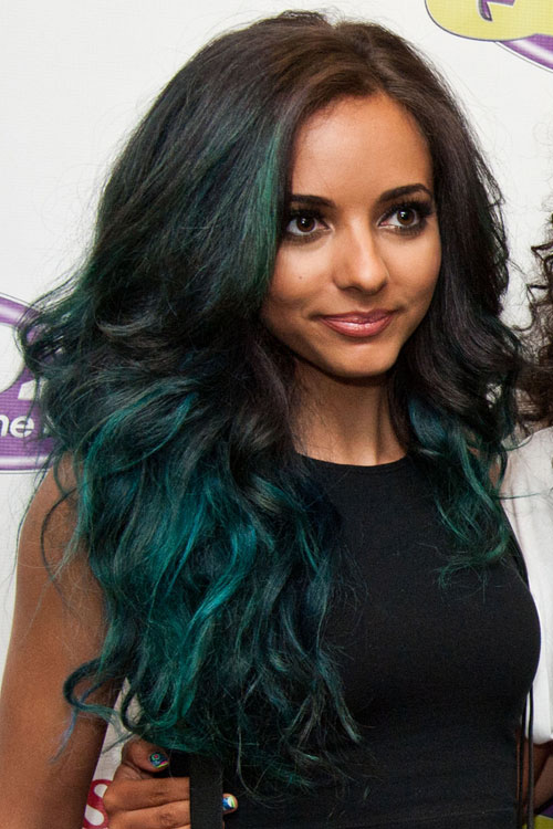 Jade Thirlwall Wavy Green Ombr TwoTone Hairstyle  Steal Her Style